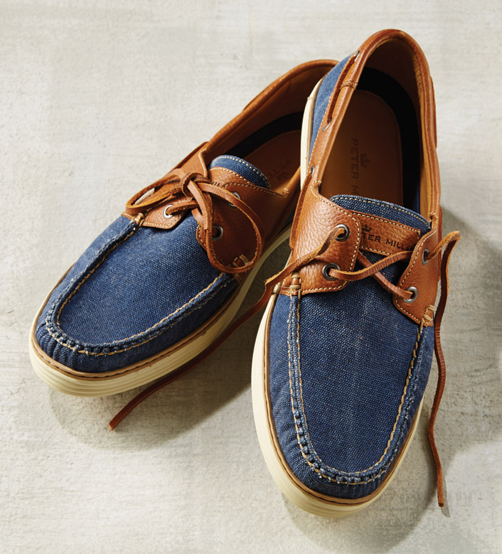 Peter Millar Washed Canvas Boat Shoes
