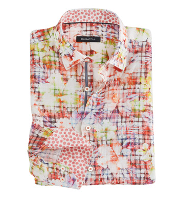 Floral-Over-Plaid Long Sleeve Linen Sport Shirt