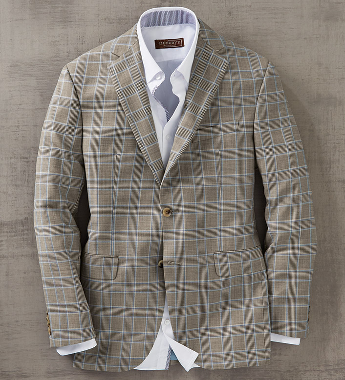 Patrick James Tan Glen Plaid Sport Coat