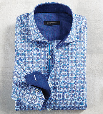 Medallion Print Long Sleeve Sport Shirt