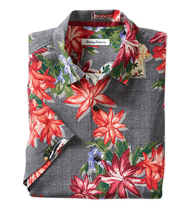 Poinsettia Holiday Short Sleeve Camp Shirt