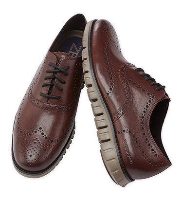 Zerogrand Leather Wine Oxford Shoes