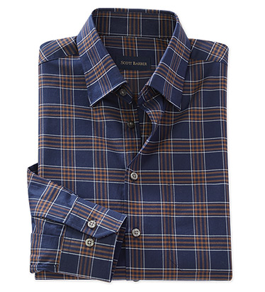 Cotton Twill Long Sleeve Plaid Sport Shirt