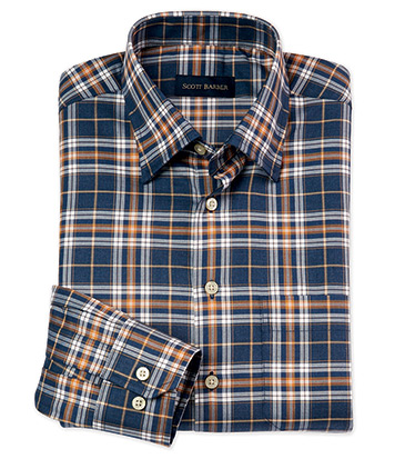 Steel/Rust Long Sleeve Plaid Sport Shirt