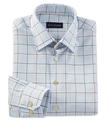 Light Blue Windowpane Long Sleeve Sport Shirt