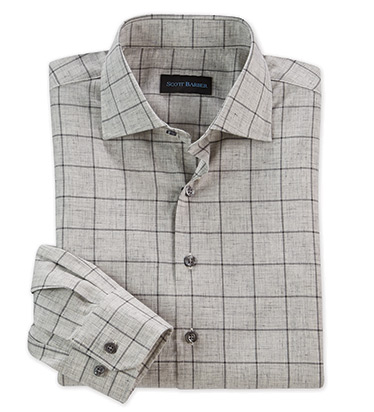 Cotton Twill Windowpane Long Sleeve Sport Shirt