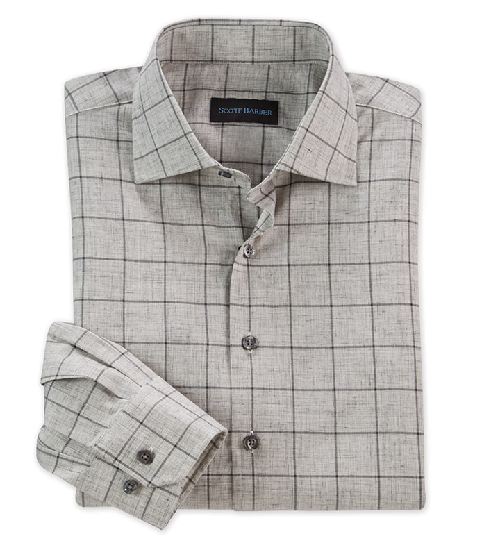 Scott Barber Cotton Twill Windowpane Long Sleeve Sport Shirt