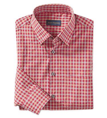 Red Check Long Sleeve Sport Shirt