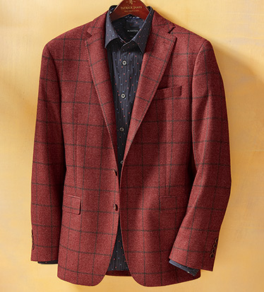 Cranberry Windowpane Sport Coat