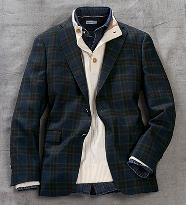 Navy Plaid Sport Coat