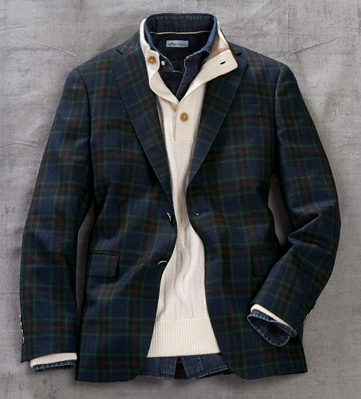 Patrick James Navy Plaid Sport Coat