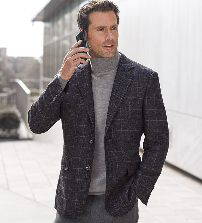 Patrick James Wool-Bamboo Windowpane Sport Coat