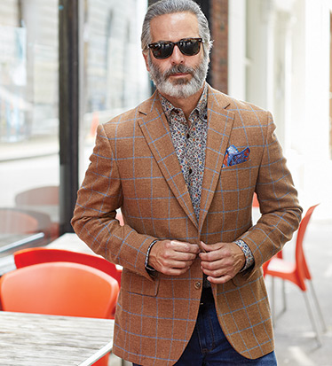 Wool-Silk Windowpane Sport Coat