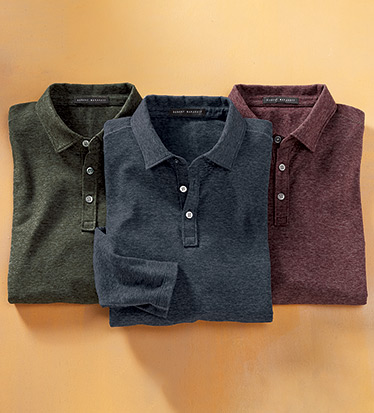 Spackled Long Sleeve Polo Shirt