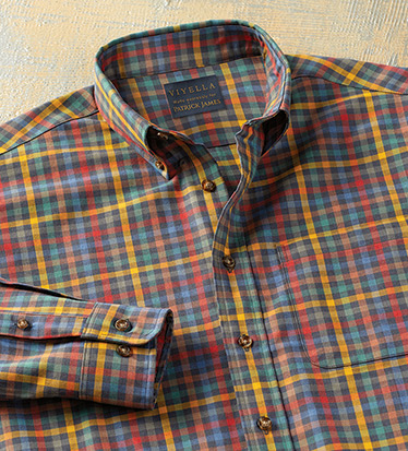 Cotton-Wool Multi Plaid Long Sleeve Sport Shirt