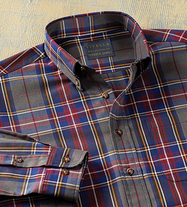 Cotton-Wool Vino Plaid Long Sleeve Sport Shirt