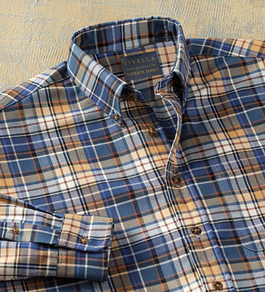 Cotton-Wool Brown Plaid Long Sleeve Sport Shirt