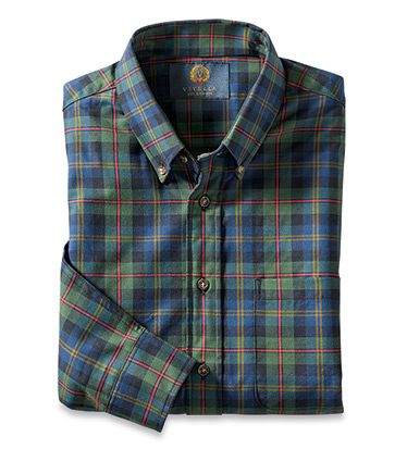 Hunter Green Plaid Long Sleeve Sport Shirt
