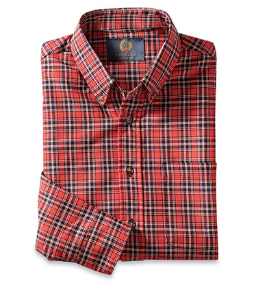 Red Black Plaid Long Sleeve Sport Shirt