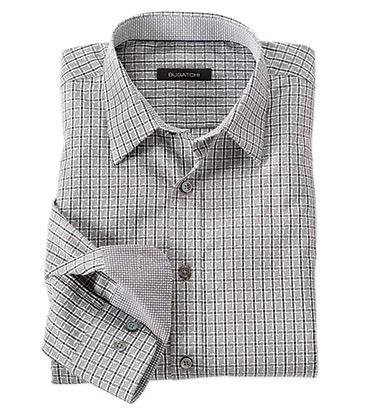 Woven Check Long Sleeve Cotton Sport Shirt