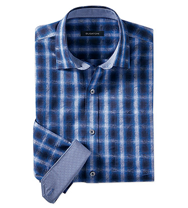 Windowpane Ombre Plaid Long Sleeve Sport Shirt