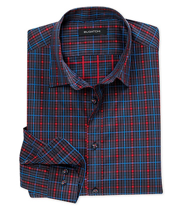 Windowpane Check Long Sleeve Sport Shirt