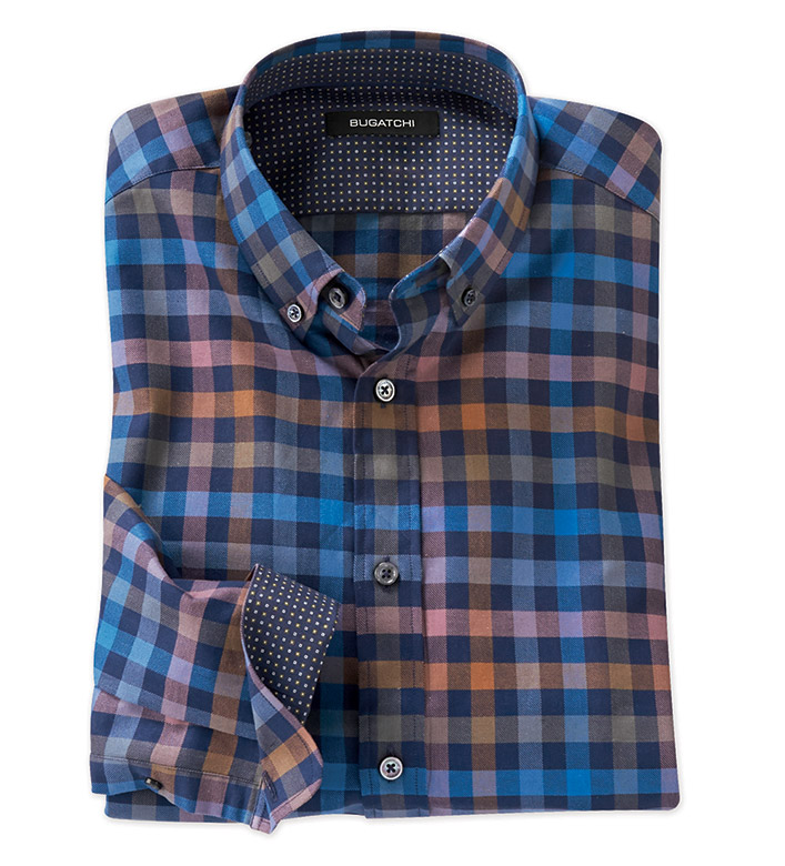 Bugatchi Uomo Multi Check Long Sleeve Sport Shirt