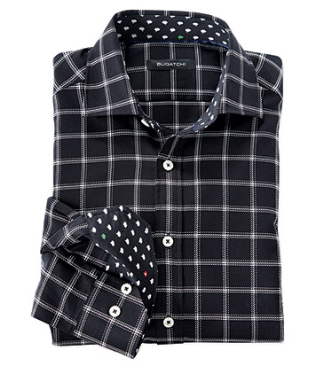 Windowpane Long Sleeve Sport Shirt