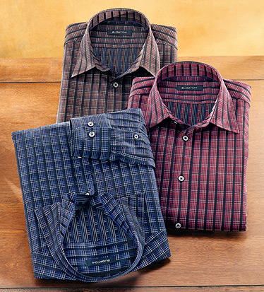 Satin Stripe Long Sleeve Plaid Sport Shirt