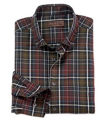 Olive Plaid Long Sleeve Sport Shirt