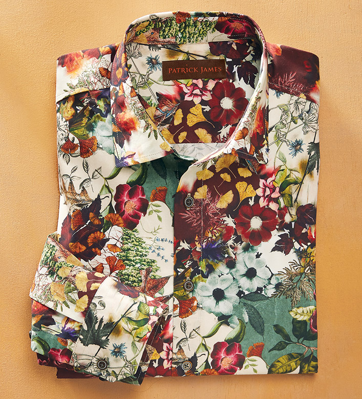 Patrick James Floral Print Long Sleeve Sport Shirt