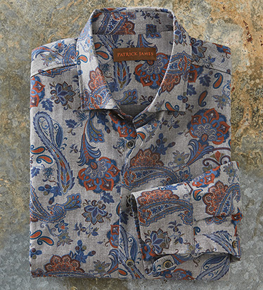 Grey Paisley Long Sleeve Sport Shirt
