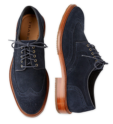 Logan Navy Suede Wingtip Shoes