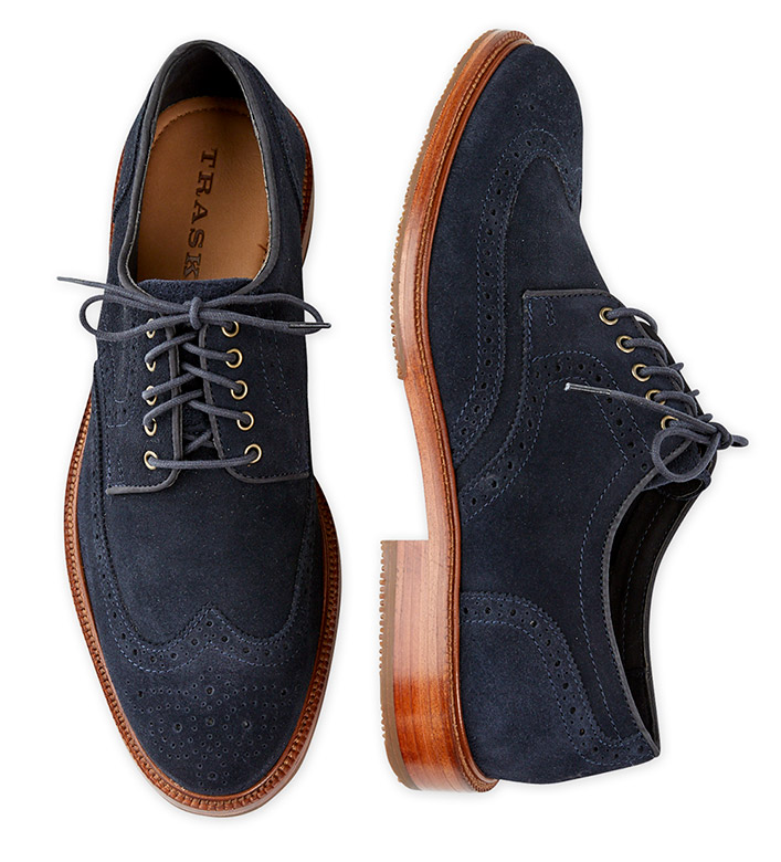 Trask Logan Navy Suede Wingtip Shoes