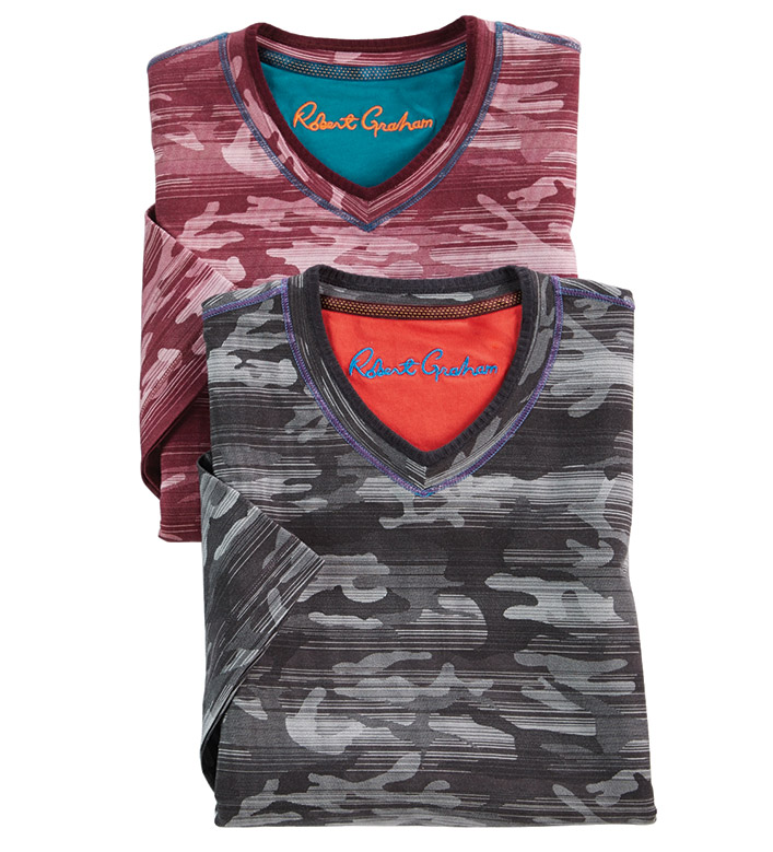 Robert Graham Rhodes Camo Short Sleeve Tee Shirt