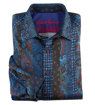 Brasco Paisley Long Sleeve Stripe Sport Shirt