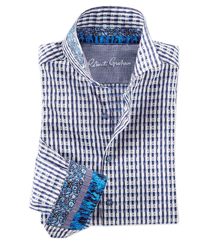 Robert Graham Hackman Blue Check Long Sleeve Sport Shirt