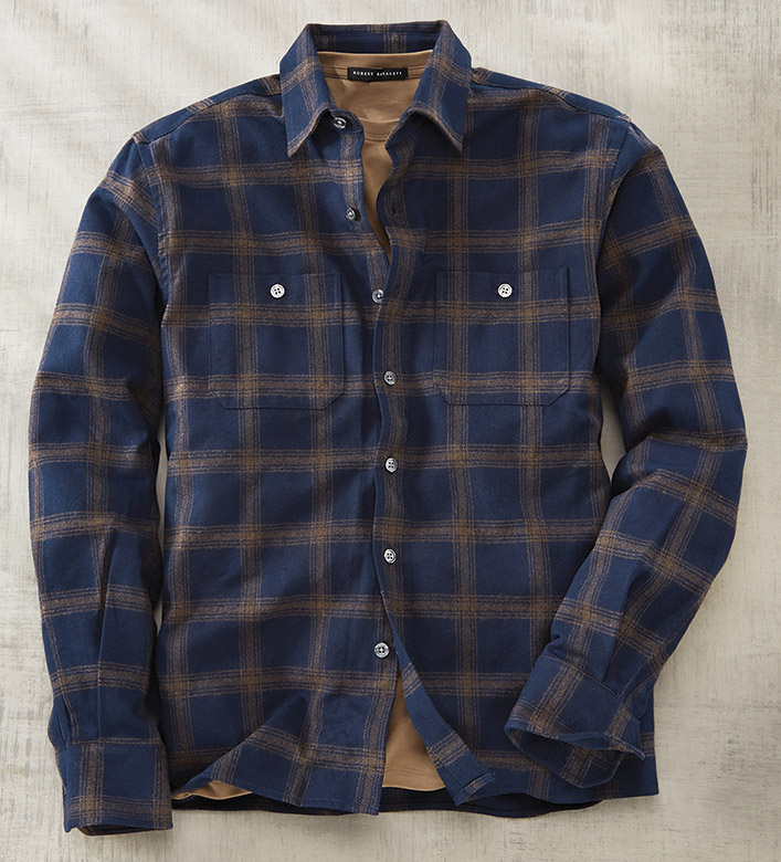 Scott Barber Navy Windowpane Flannel Overshirt
