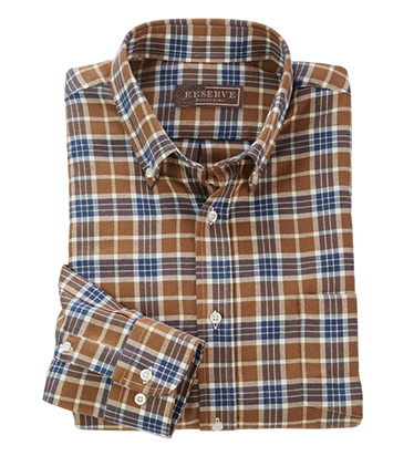 Cotton-Wool Plaid Long Sleeve Sport Shirt