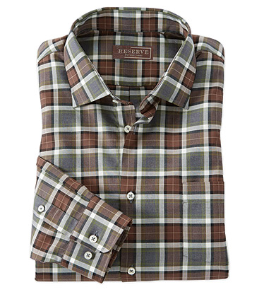 Dunsdale Brown Plaid Long Sleeve Sport Shirt