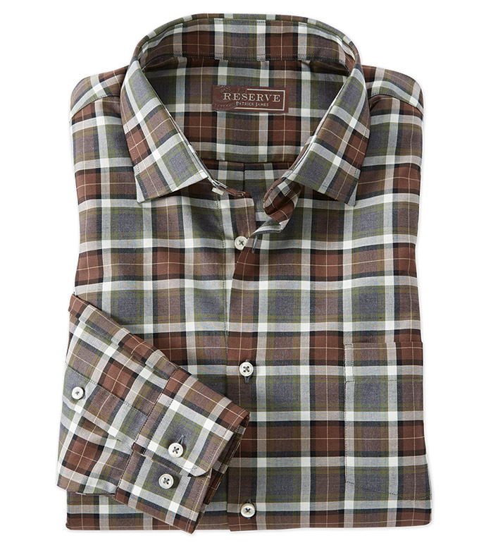 Reserve Dunsdale Brown Plaid Long Sleeve Sport Shirt