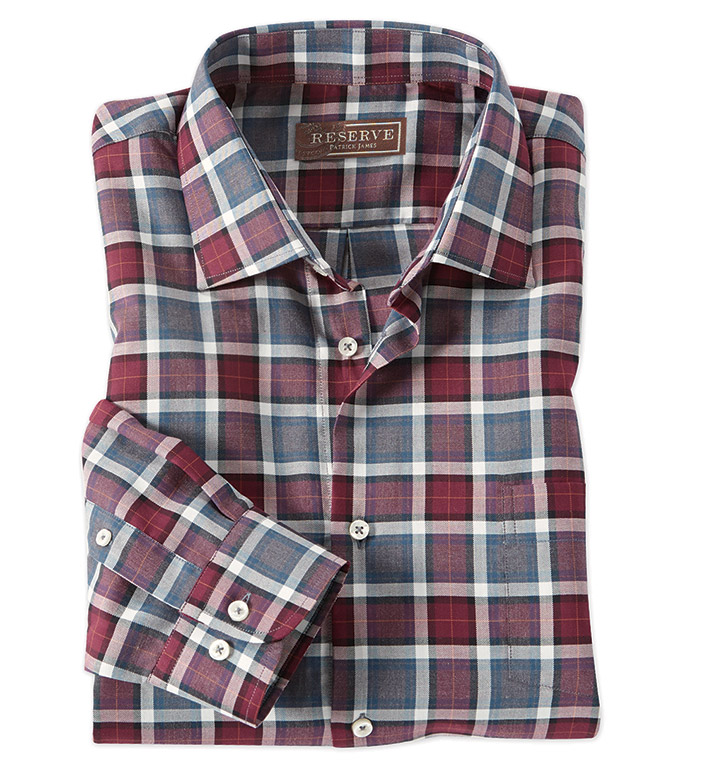 Reserve Dunsdale Wine Plaid Long Sleeve Sport Shirt