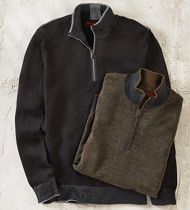 Black Quarter-Zip Wool Blend Sweater