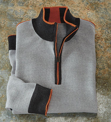 Contrast Trim Quarter-Zip Sweater