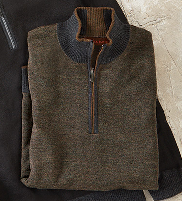 Brown Quarter-Zip Wool Blend Sweater