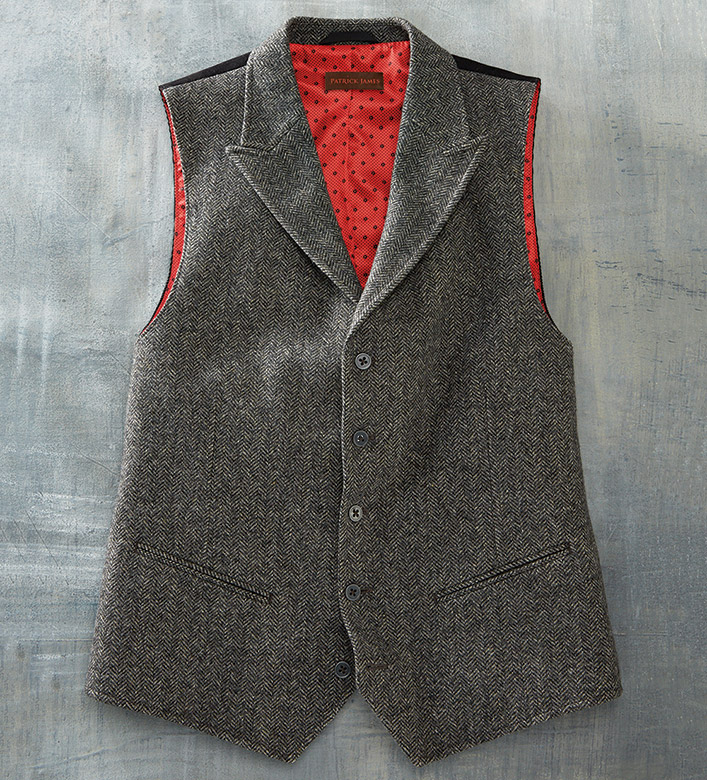 Patrick James Herringbone Wool Vest