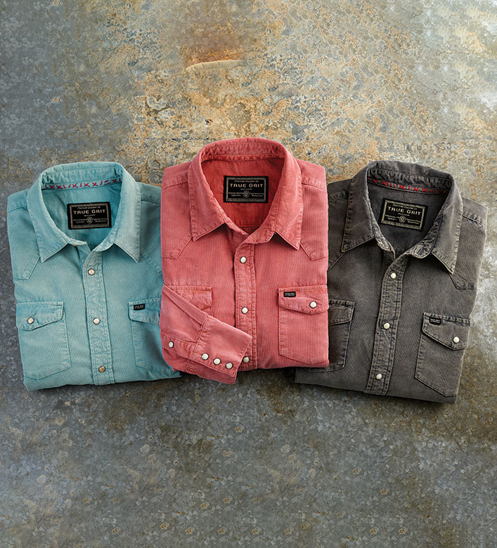 True Grit Jackson Cord Western Long Sleeve Sport Shirt