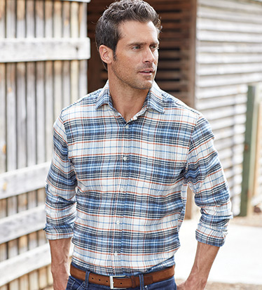 European Cotton Flannel Long Sleeve Sport Shirt