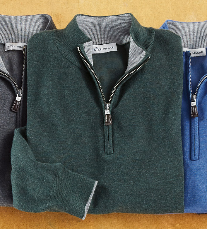 Peter Millar Cashmere-Silk Quarter-Zip Sweater