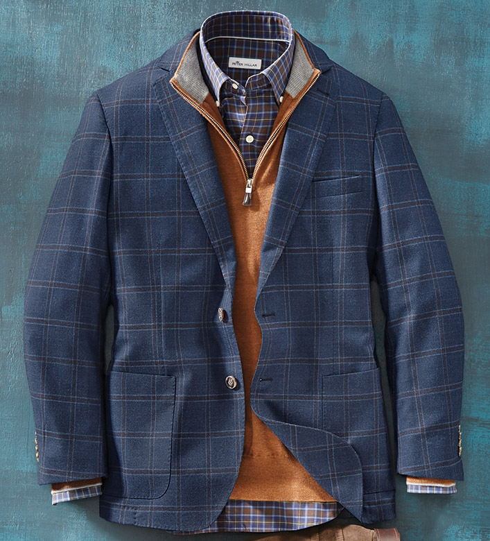 Peter Millar Night Sky Windowpane Soft Coat